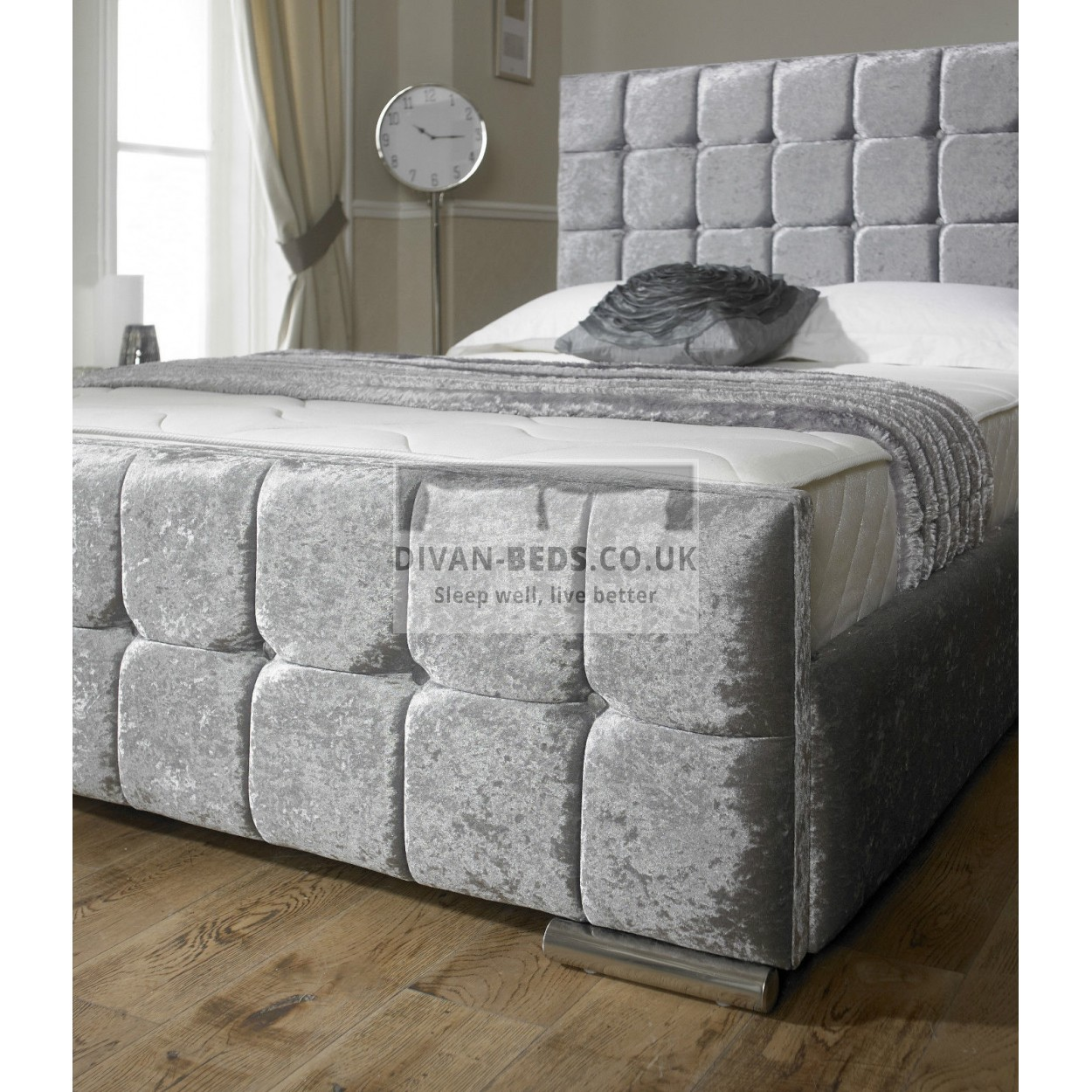 Renata cube crushed velvet fabric upholstered bed frame for Divan upholstered bed