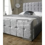Leya Cube Crushed Velvet Fabric Upholstered Bed Frame