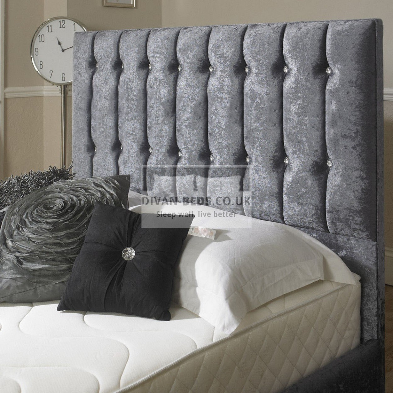 Karina velvet fabric upholstered bed frame guaranteed for Velvet divan bed frame