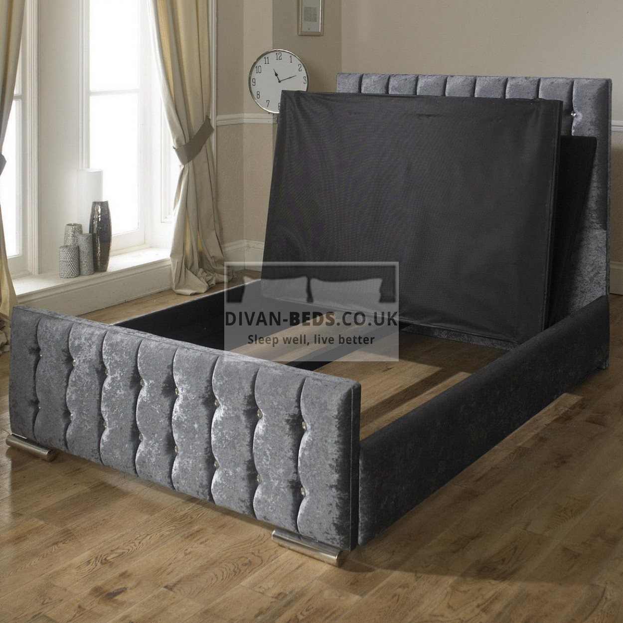 Karina velvet fabric upholstered bed frame guaranteed for Upholstered bed frame