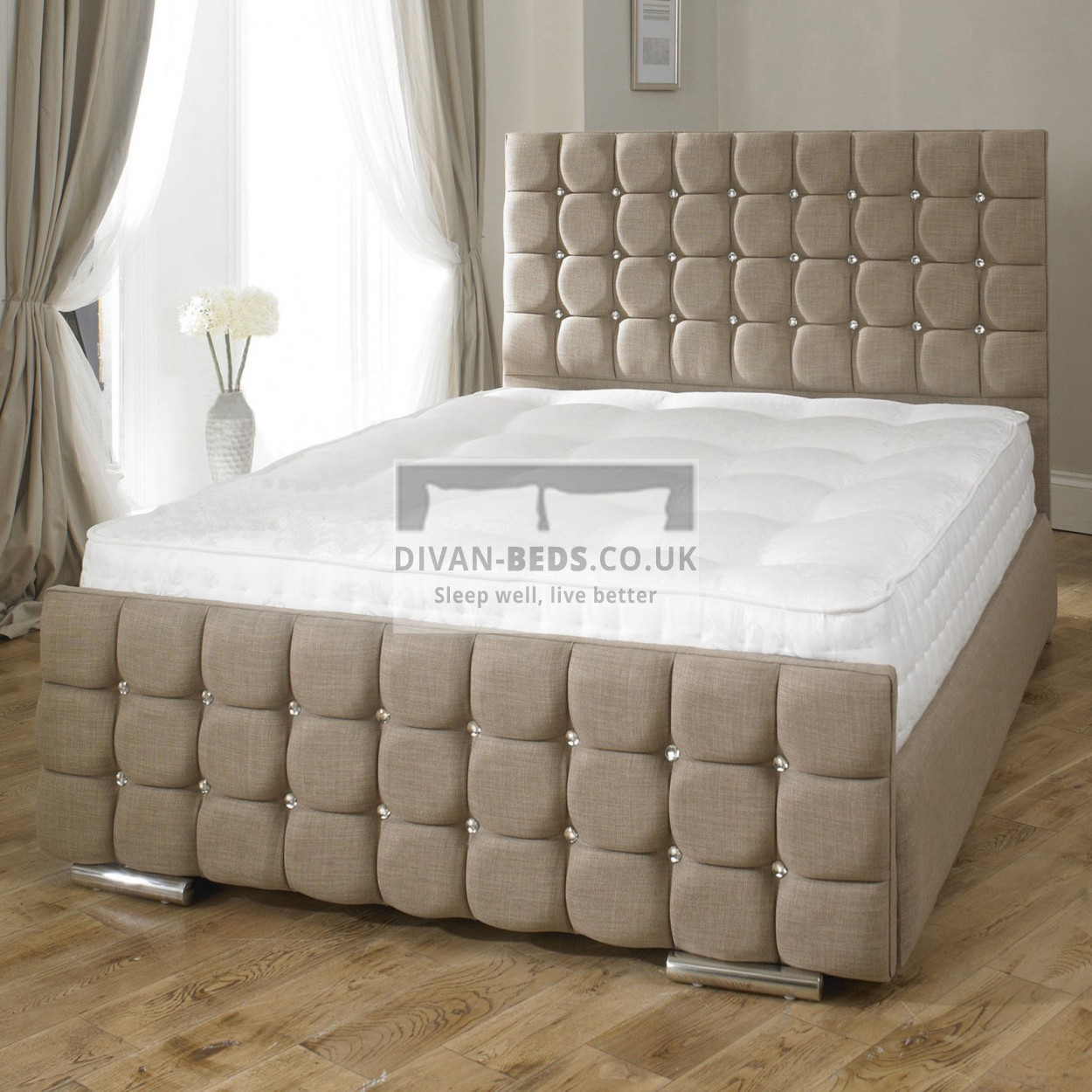 Erin Fabric Upholstered Bed Frame Guaranteed Cheapest Free Fast Delivery