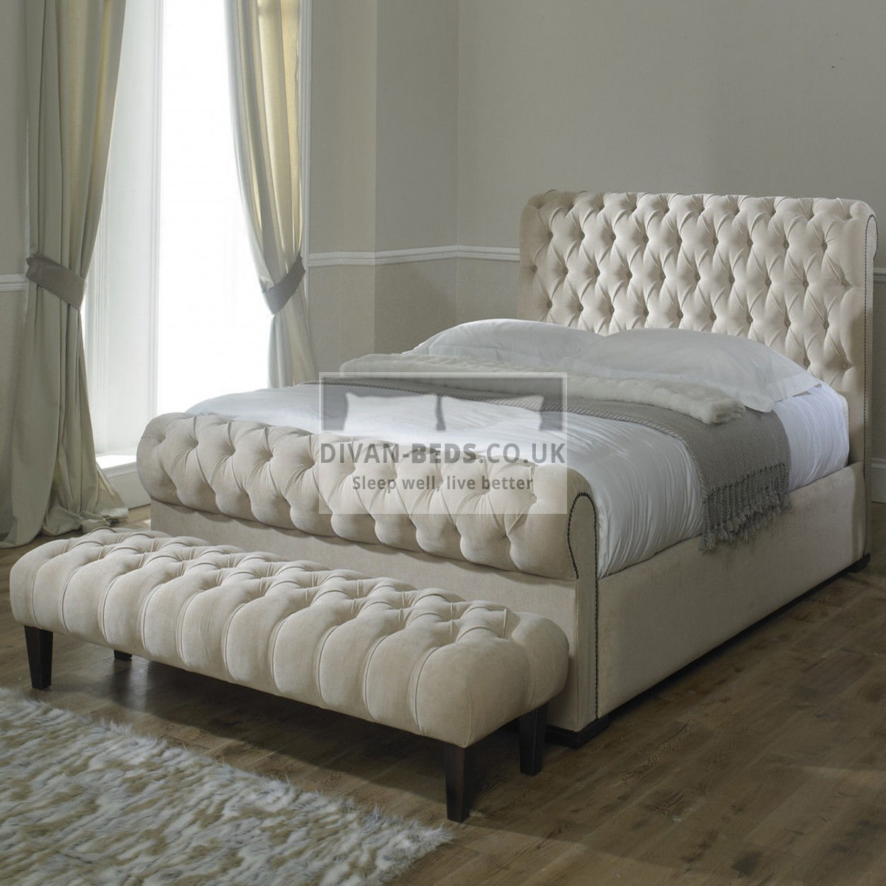 Rosaline luxury fabric upholstered bed frame guaranteed for Upholstered bed frame