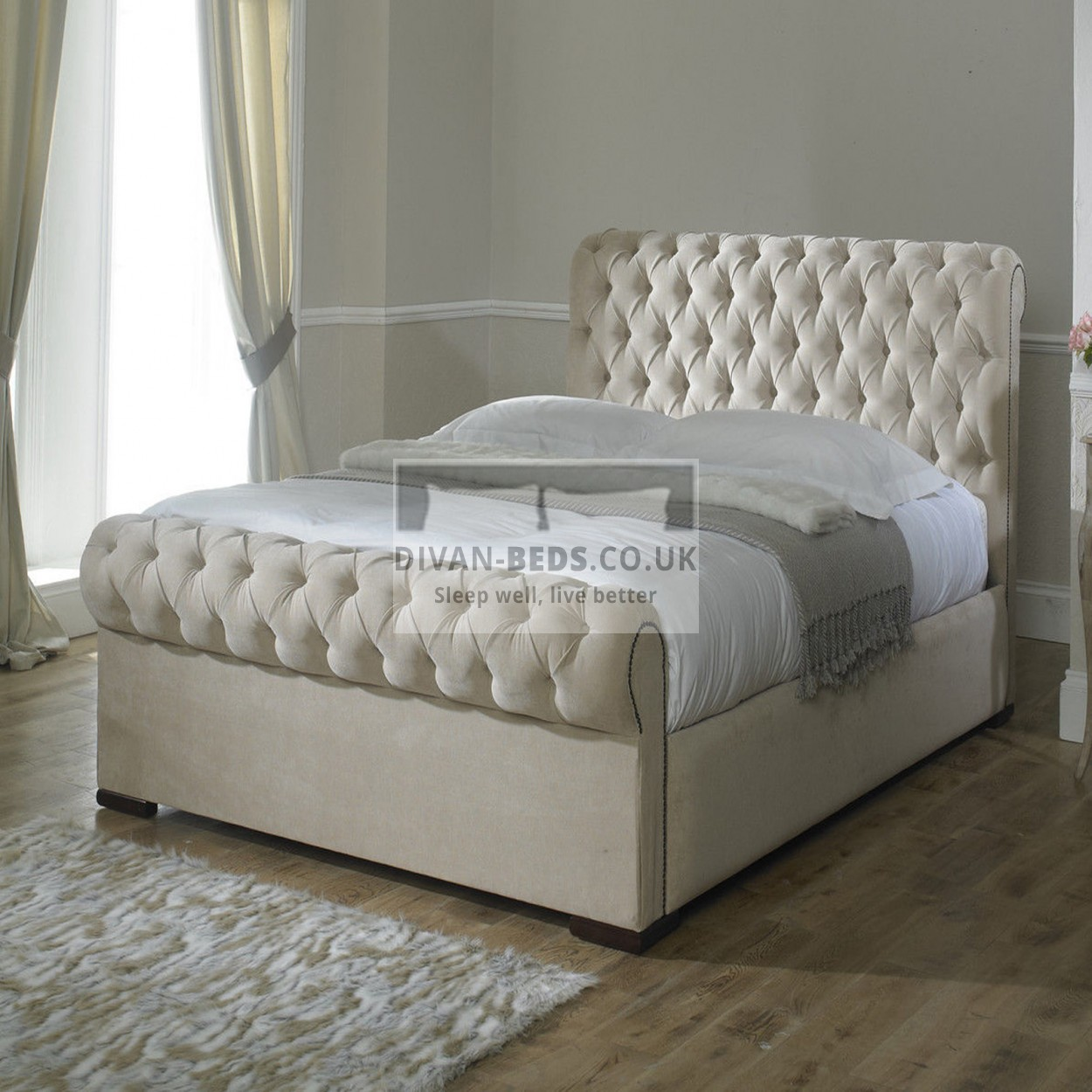 Rosaline Luxury Fabric Upholstered Bed Frame Guaranteed