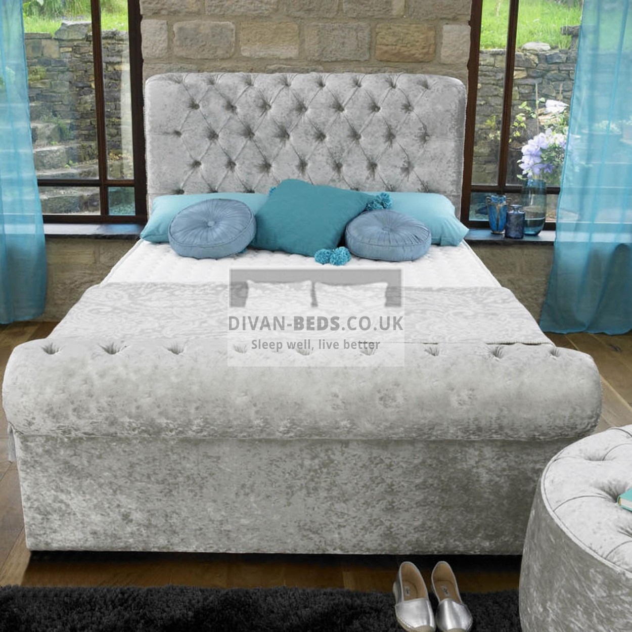Henrietta luxury fabric upholstered bed frame guaranteed for Upholstered divan bed
