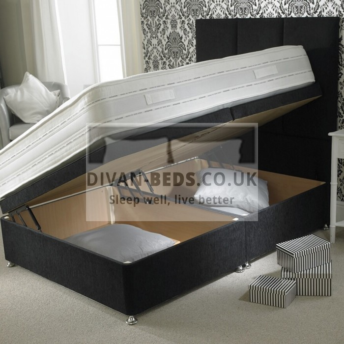 Mason Luxury Ottoman Storage Side Gas Lift Fabric Divan Bed