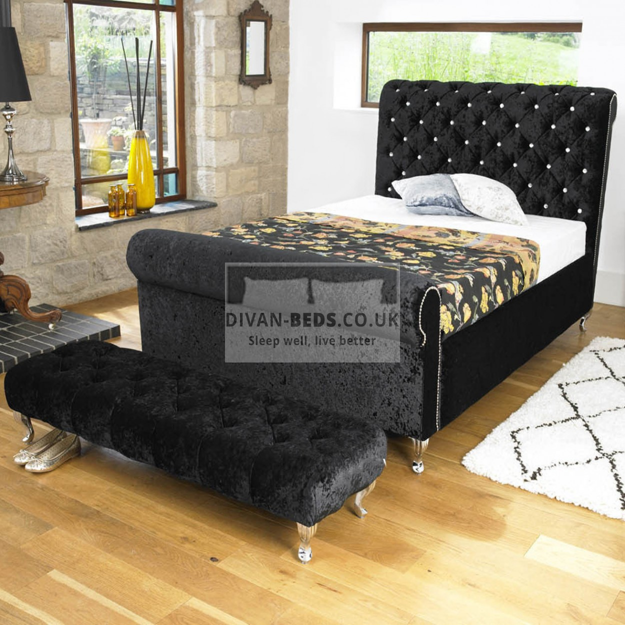 Ellis luxury fabric upholstered bed frame guaranteed for Upholstered bedframes