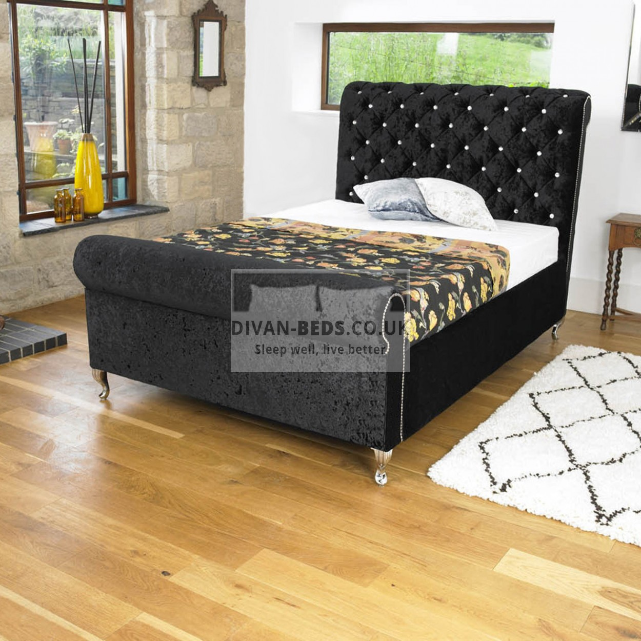 Ellis luxury fabric upholstered bed frame guaranteed for Exotic bed frames