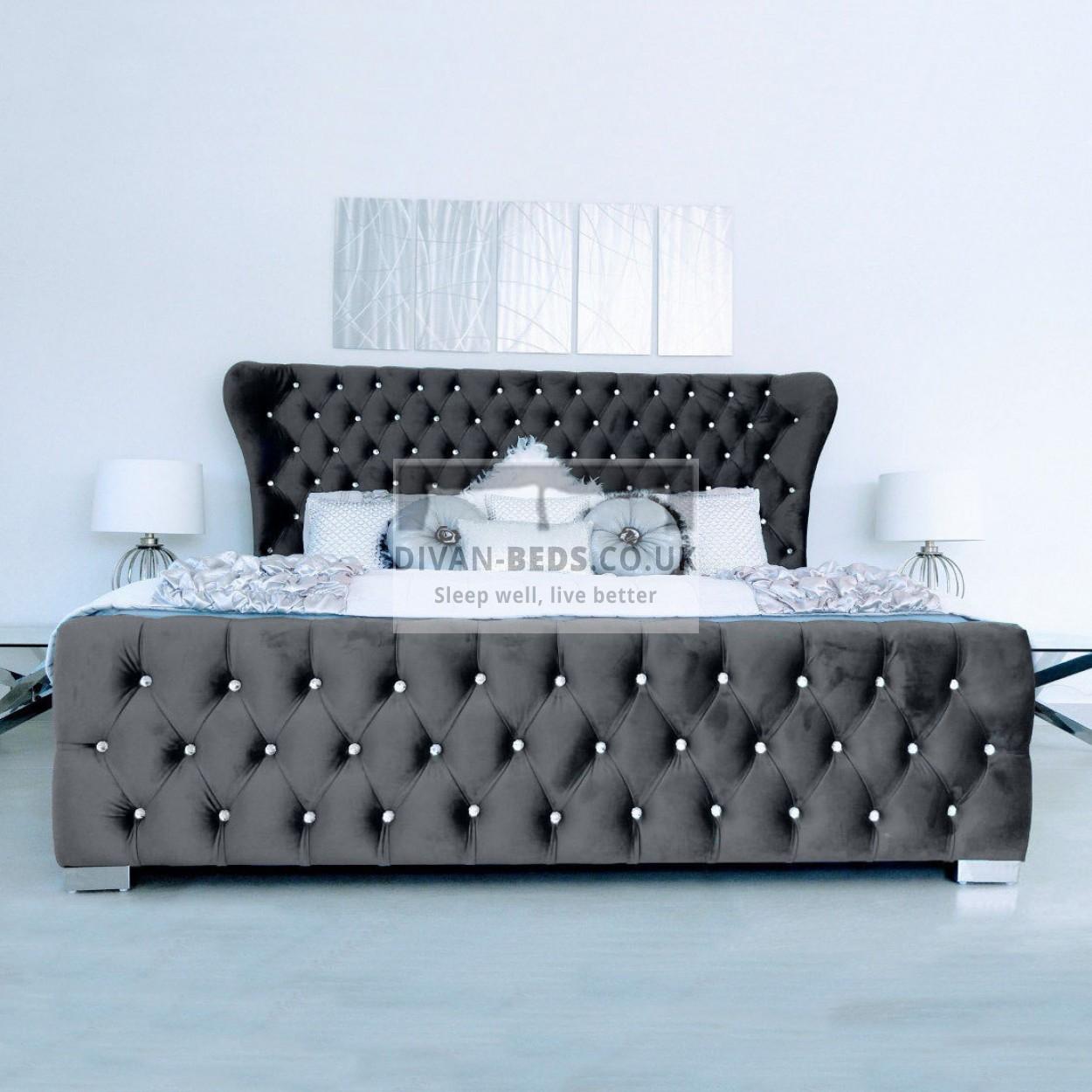Kamara Winged Luxury Fabric Upholstered Bed Frame