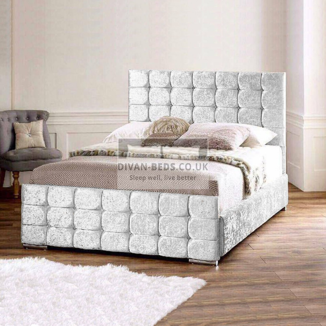 Marla Crushed Velvet Fabric Upholstered Bed Frame