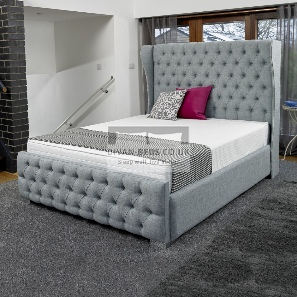 Lila luxury fabric upholstered bed frame guaranteed for Upholstered bedframes
