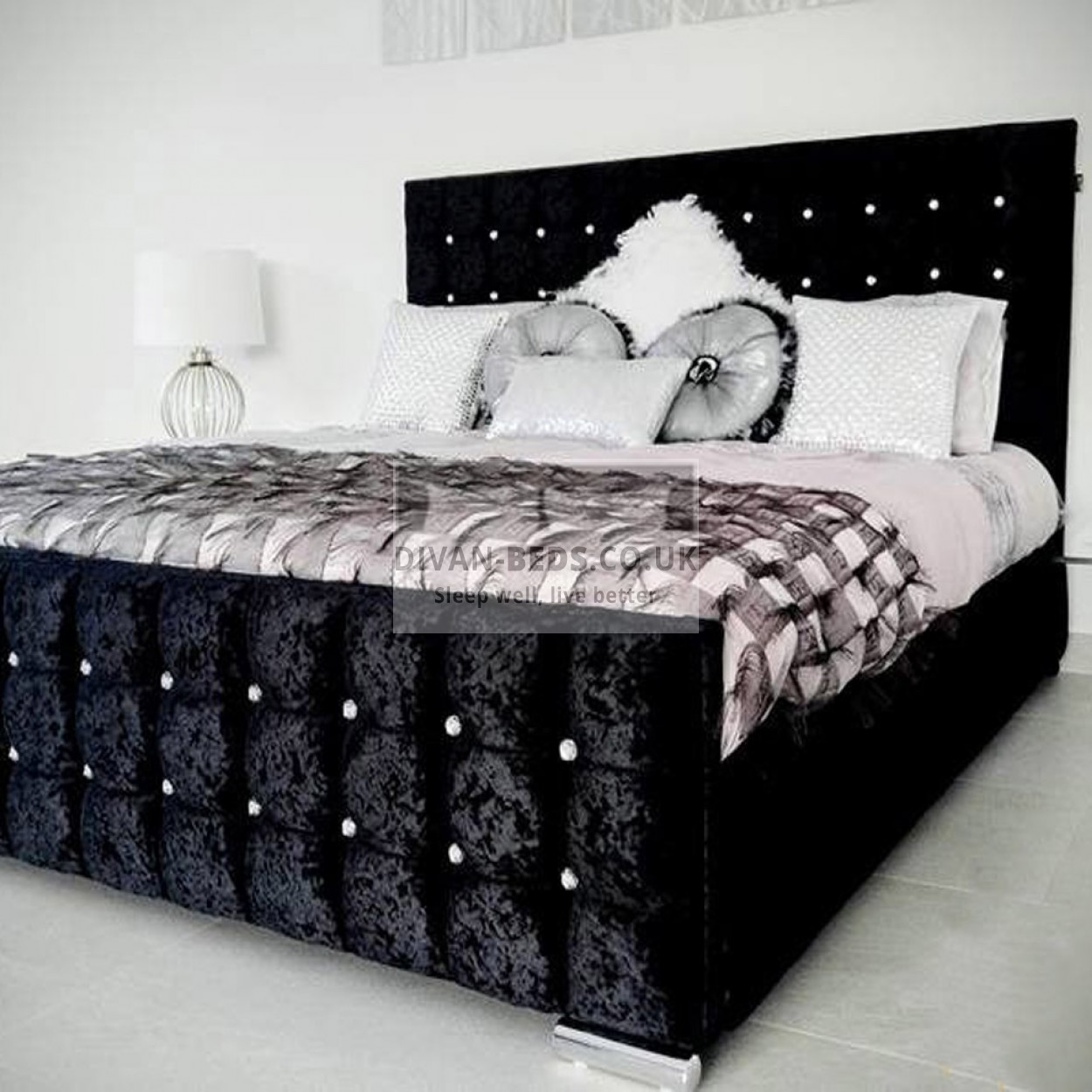Valencia luxury crushed velvet upholstered bed frame for Bedroom ideas velvet bed