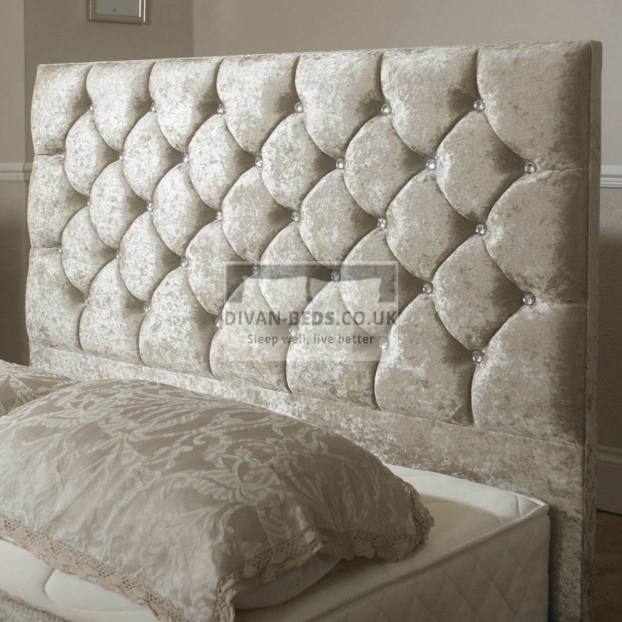 Clara velvet upholstered floor standing divan headboard for Divan upholstered bed