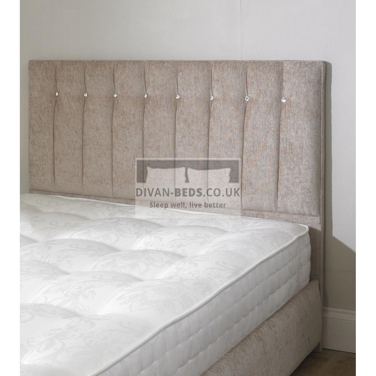 Karina chenille upholstered floor standing divan headboard for Divan bed including headboard
