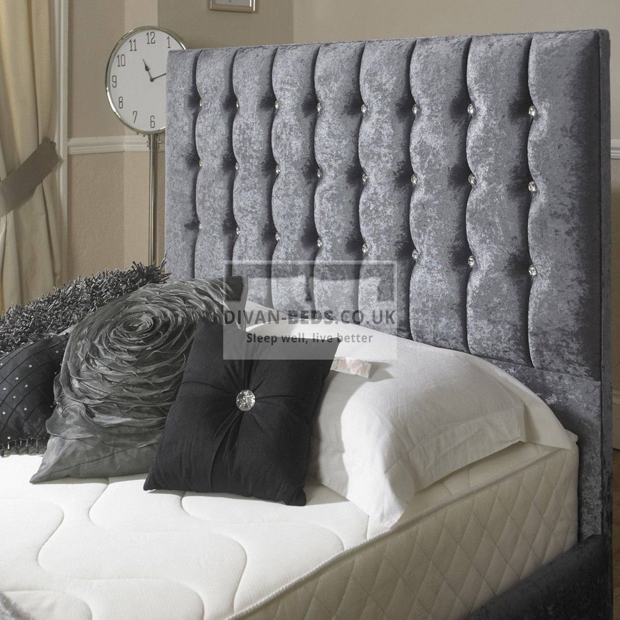 Karina velvet upholstered floor standing divan headboard for Divan upholstered bed