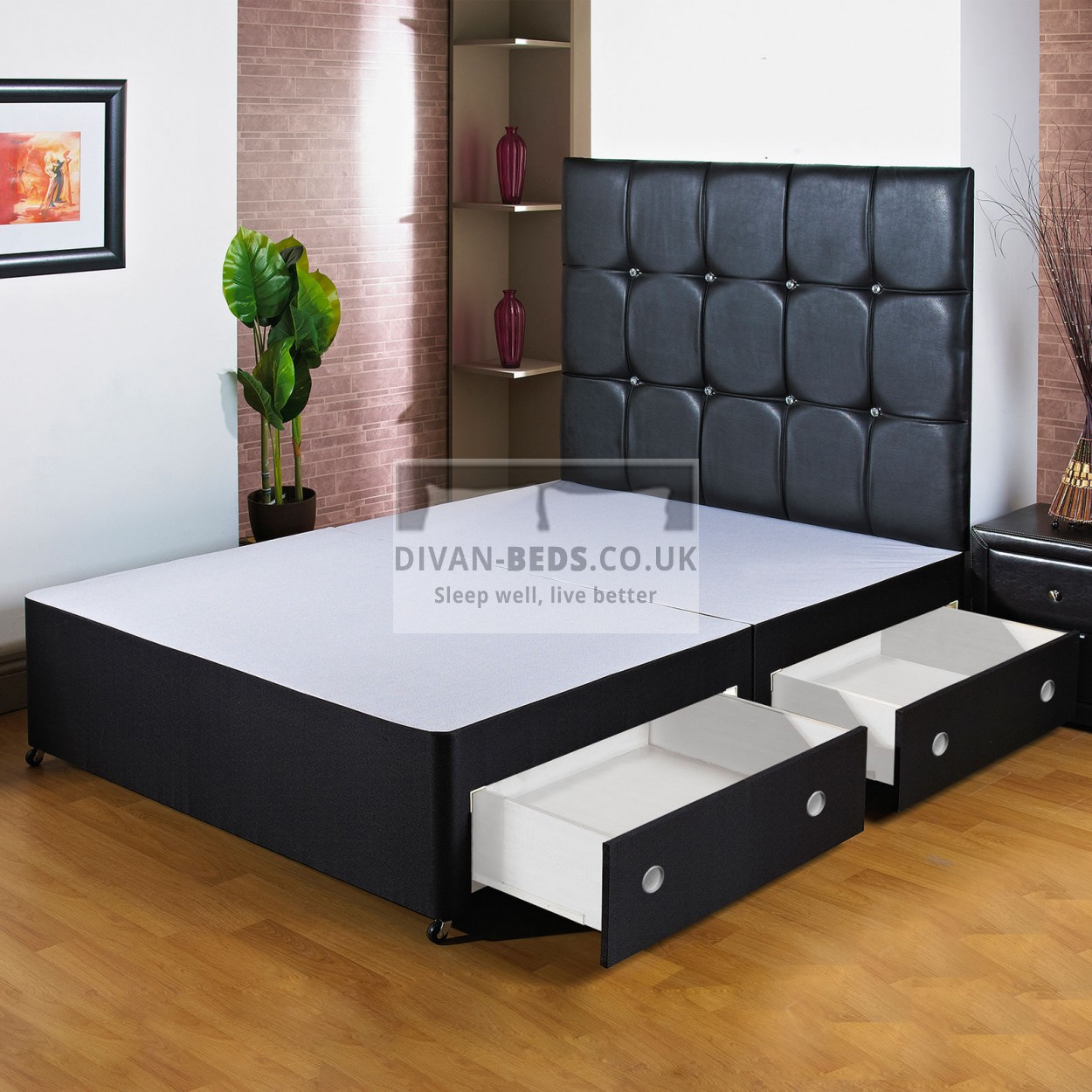 York Black Divan Bed Base With Headboard Options Guaranteed Cheapest Free Fast Delivery