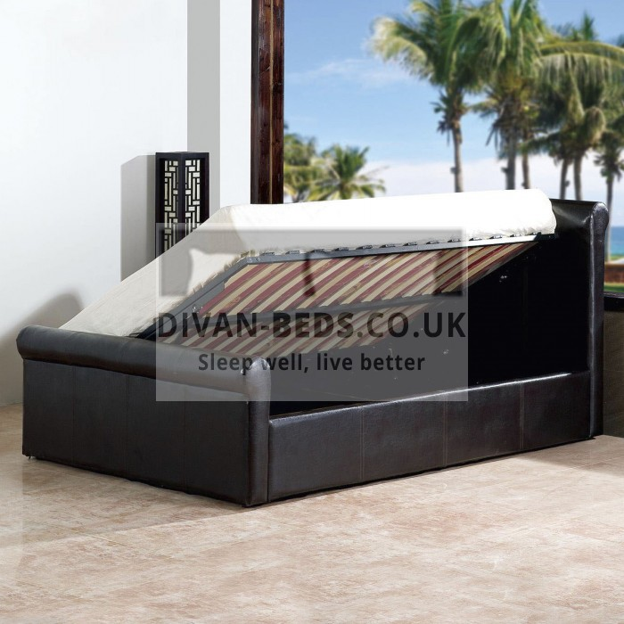 Carolina Ottoman Storage Leather Sleigh Bed
