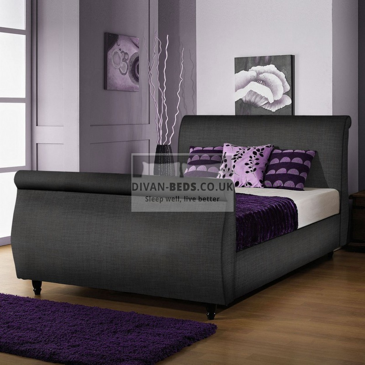 Tara Fabric Upholstered Sleigh Bed Frame Guaranteed