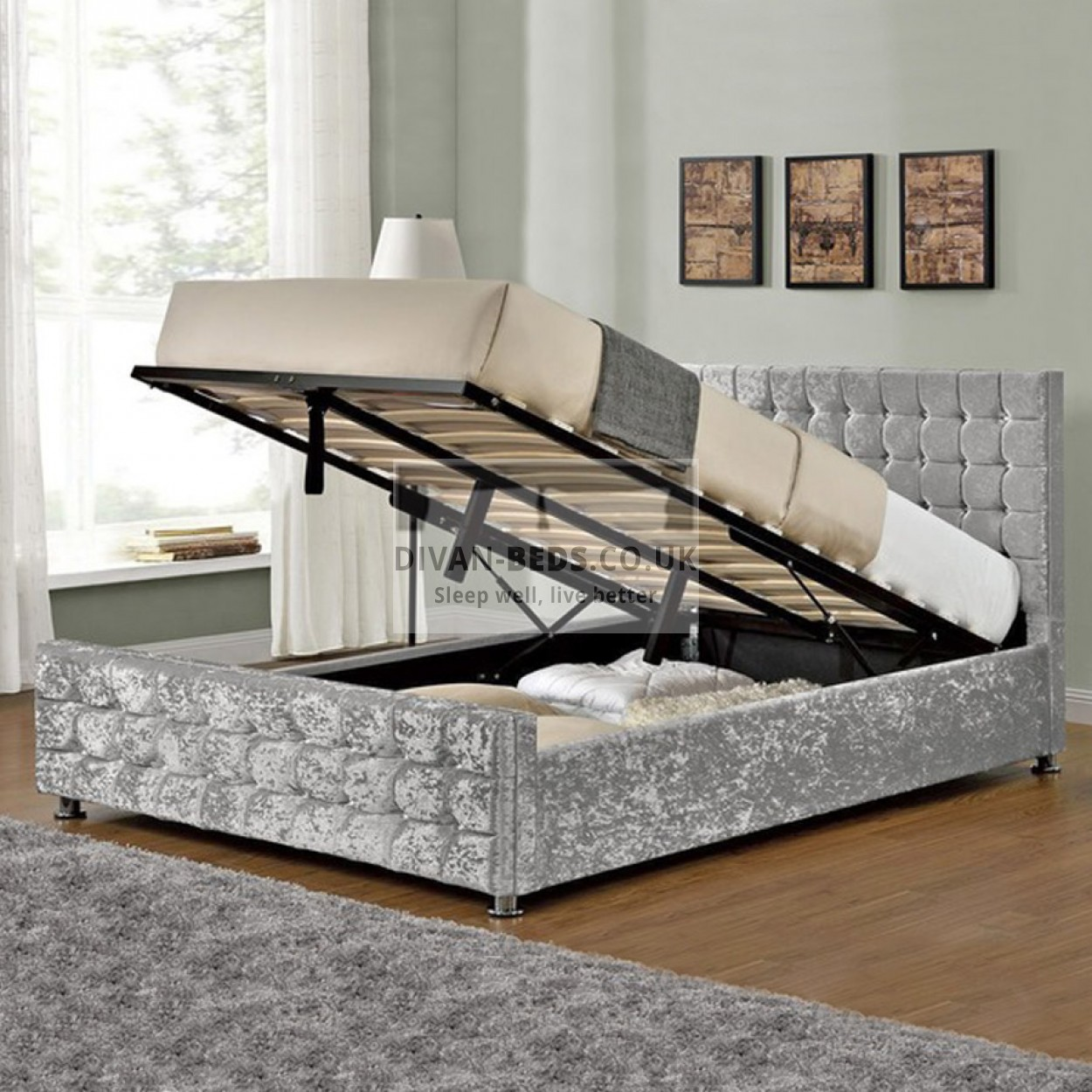 Elmira Ottoman End Lift Upholstered Bed Frame Guaranteed