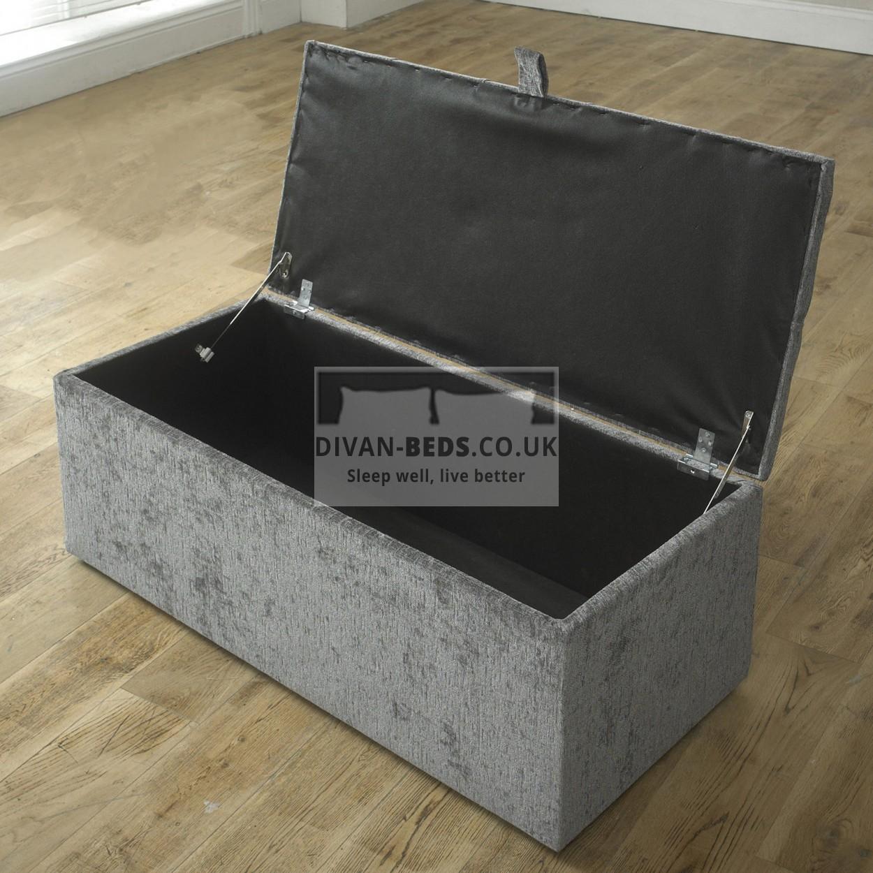 clara diamond fabric upholstered ottoman storage box and