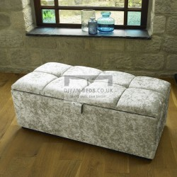 Leya Cube Fabric Upholstered Ottoman Storage Box and Stool