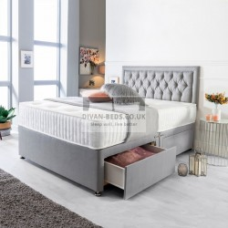 Hamilton Grey Suede Divan Set with Spring Memory Foam Mattress