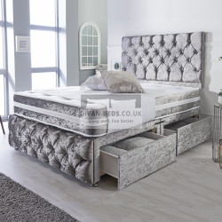 Belmont Silver Crushed Velvet Divan with Airflow Spring Memory Mattress