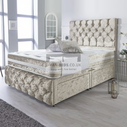 Caspian Cream Crushed Velvet Divan with Airflow Spring Memory Mattress