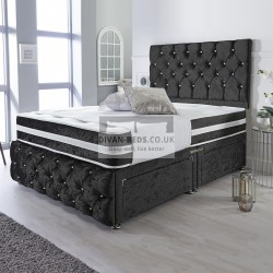 Orlando Black Crushed Velvet Divan with Airflow Spring Memory Mattress