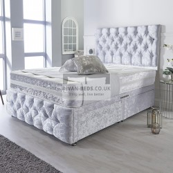 Montgomery White Crushed Velvet Divan with Airflow Spring Memory Mattress