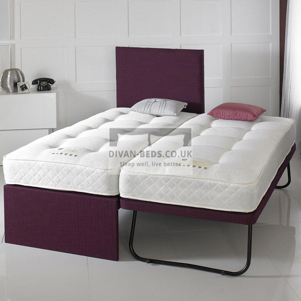 Terrance Trundle Divan Guest Bed With 2 Spring Memory Foam Mattresses Guaranteed Cheapest Free Fast Delivery