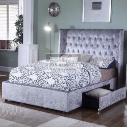 Lorena 2 Drawers Winged Crushed Velvet Bed Frame