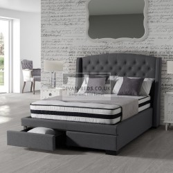 Mallory 2 Drawers Winged Cotton Bed Frame