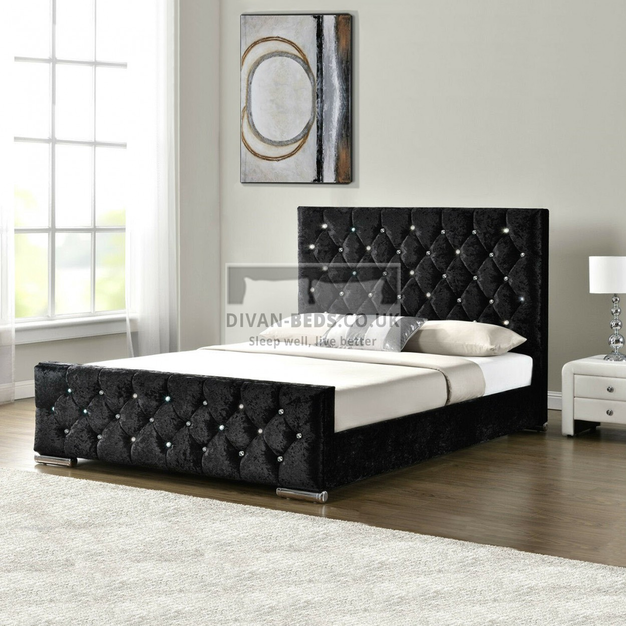 Fabiola Crushed Velvet Bed Frame Guaranteed Cheapest Free Fast Delivery
