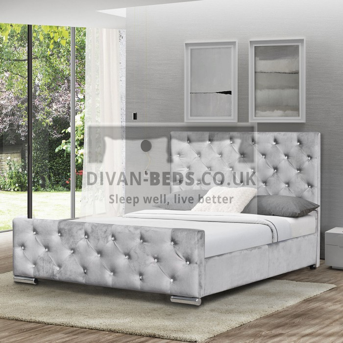 Marino Luxury Grey Plush Velvet Bed Frame