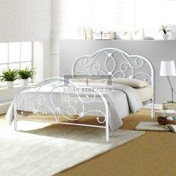Heather White Metal Bed Frame