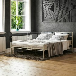 Dravos White Metal Bed Frame