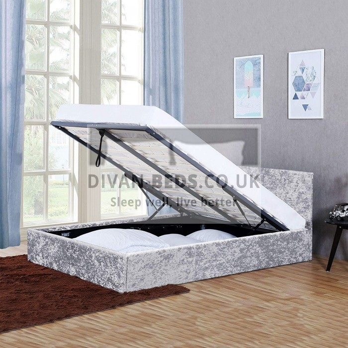 Admirable Ramona Silver Crushed Velvet Ottoman Bed Frame Alphanode Cool Chair Designs And Ideas Alphanodeonline