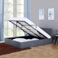 Kayson Dark Grey Linen Ottoman Bed Frame