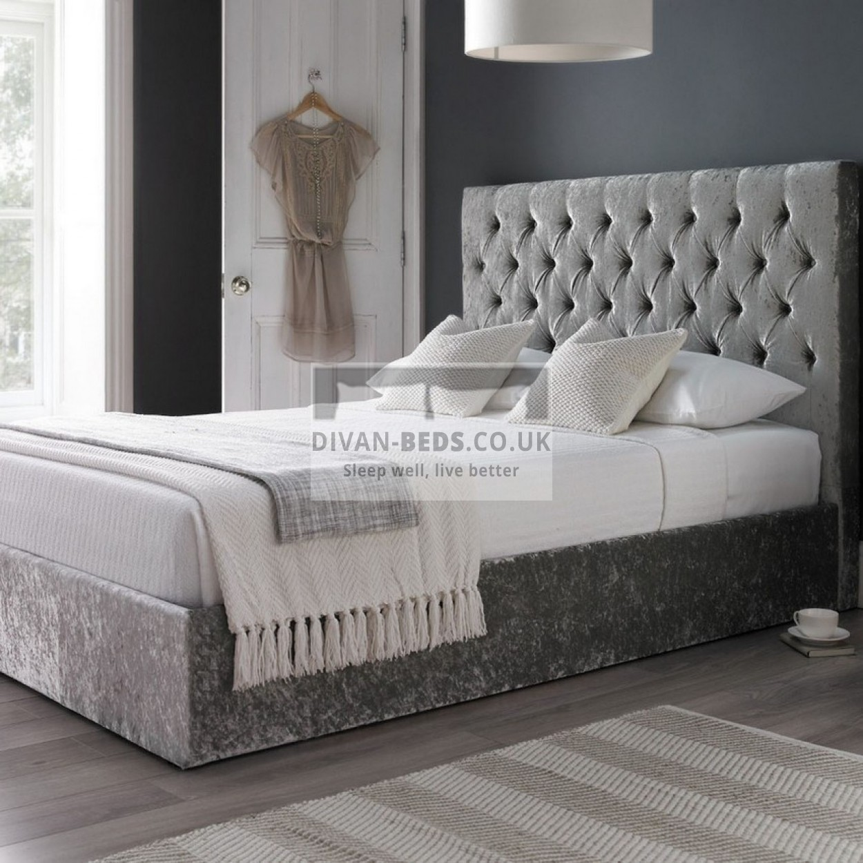 Serena Luxury Ottoman Divan Bed With Floor Standing Headboard Guaranteed Cheapest Free Fast Delivery