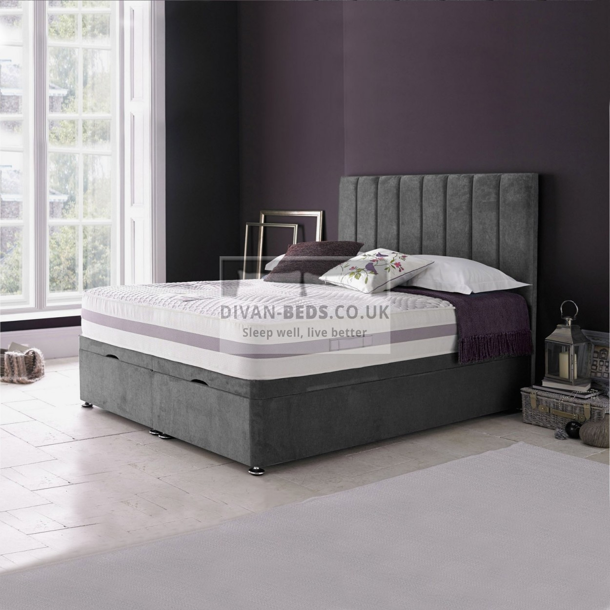 Amberlyn Luxury Ottoman Divan Bed With Floor Standing Headboard Guaranteed Cheapest Free Fast Delivery