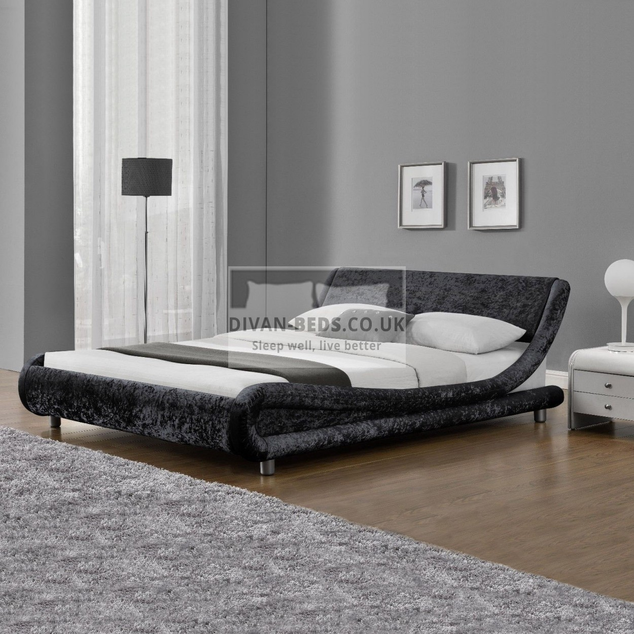 Volo Italian Modern Crushed Velvet Bed Frame Guaranteed Cheapest Free Fast Delivery